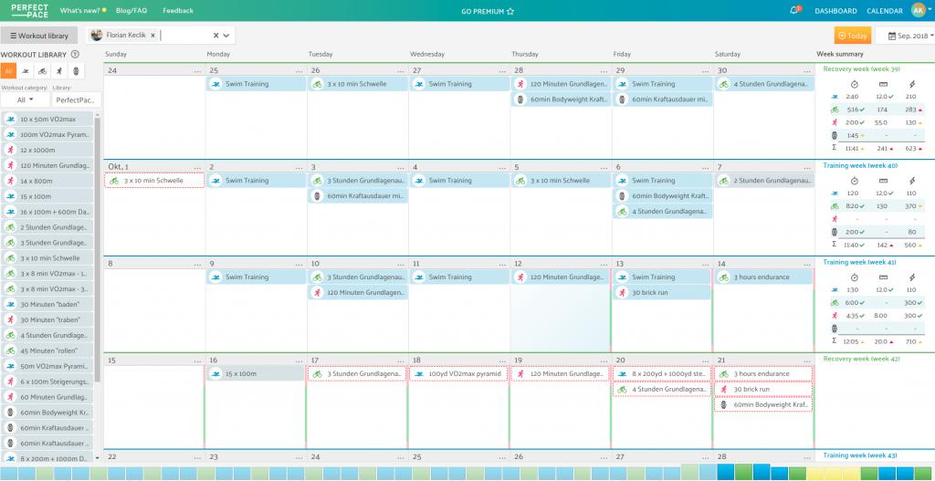 Trainer calendar