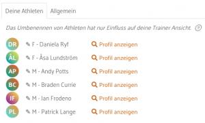 Athleten Liste