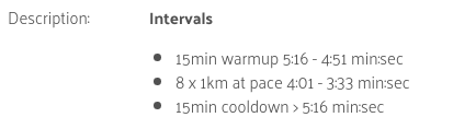 A workout description with replaced variables