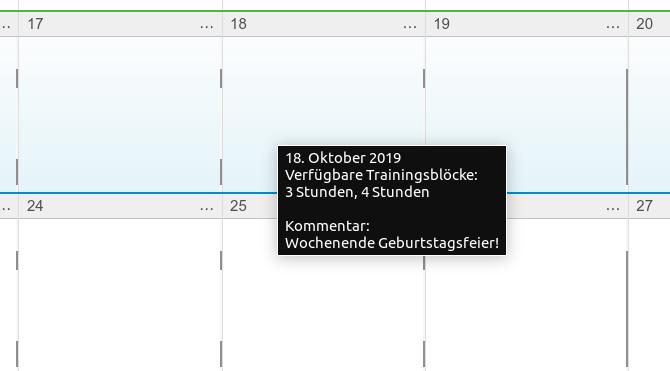 Available training blocks